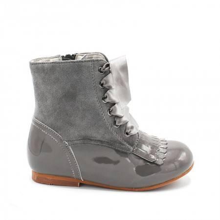 botas niña charol gris