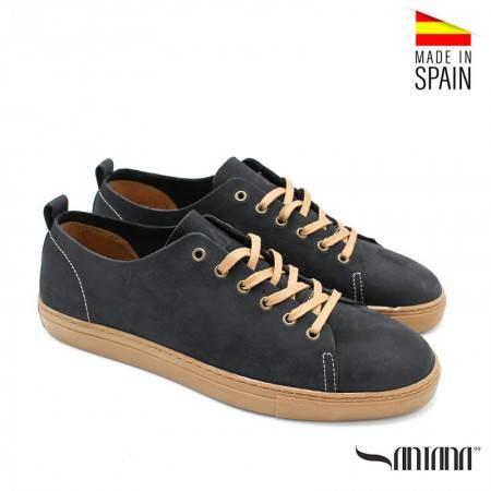 zapatos piel casual hombre azul marino