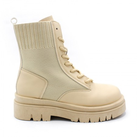 botín militar beige