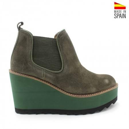 botines verdes de mujer